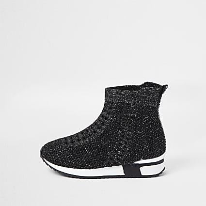 Mini girls black glitter hi top trainers
