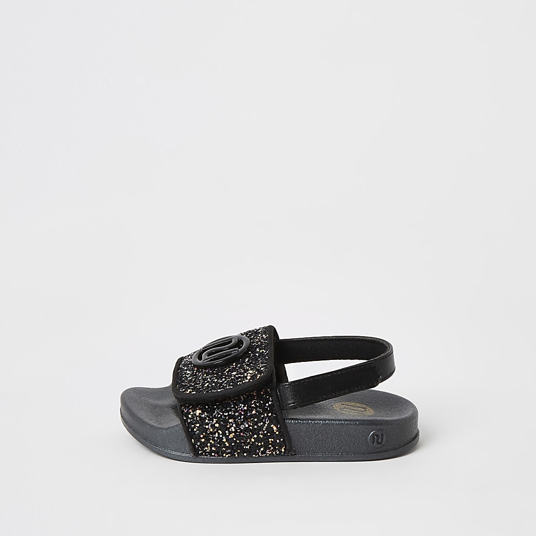 Mini girls black glitter RI sliders