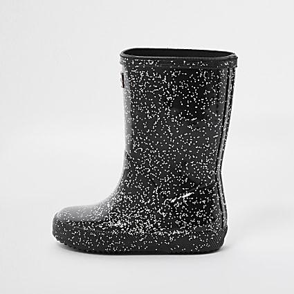 Mini girls black glitter wellington boots