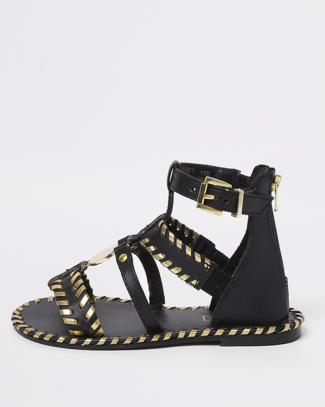 Mini girls black gold weave sandals