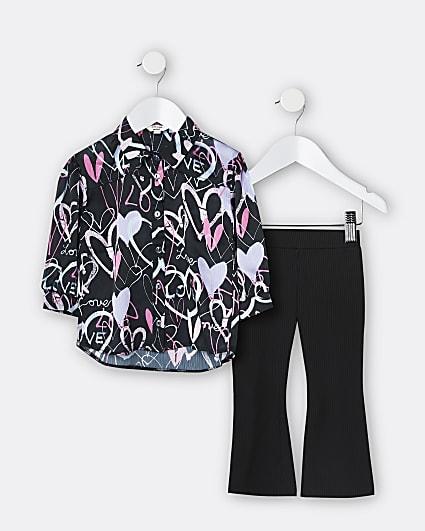 Mini girls black graffiti shirt 2 piece set