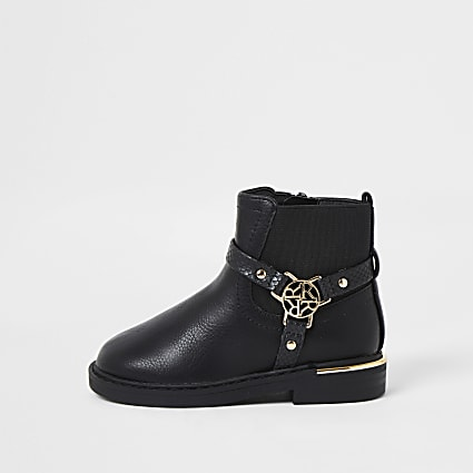 Mini girls black harness ankle boots