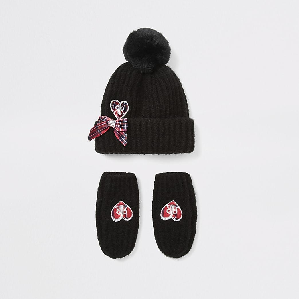 Mini girls black heart hat and mitten set