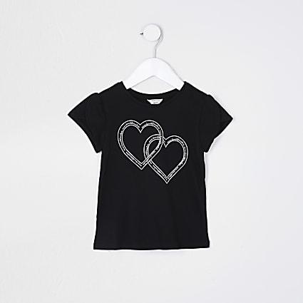 Mini girls black heart short sleeve t-shirt