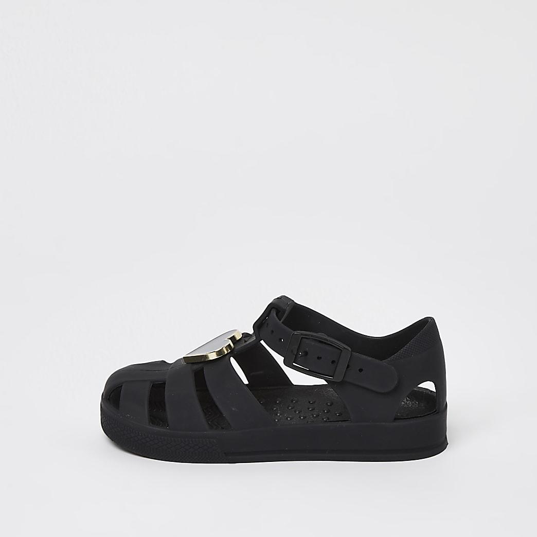 Mini girls black heart trim jelly sandals
