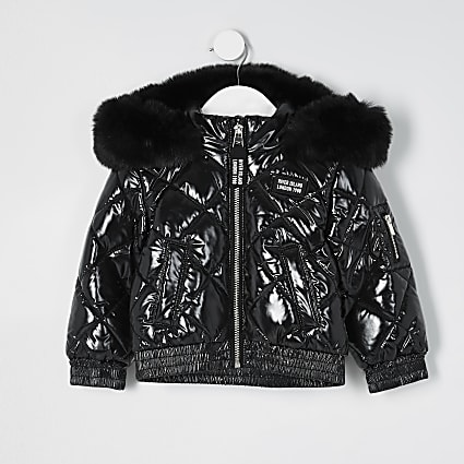 Mini girls black high shine padded bomber