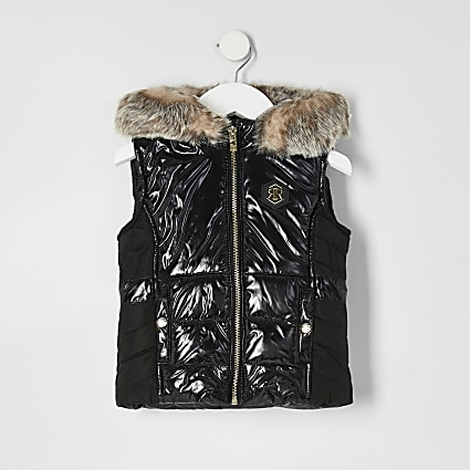Mini girls black high shine padded gilet