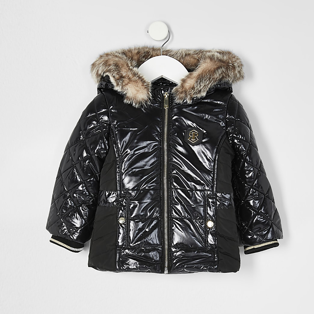 Mini Girls black high shine padded jacket