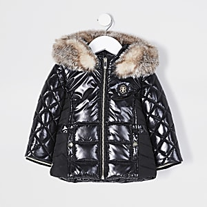 Mini Girls black high shine puffer jacket