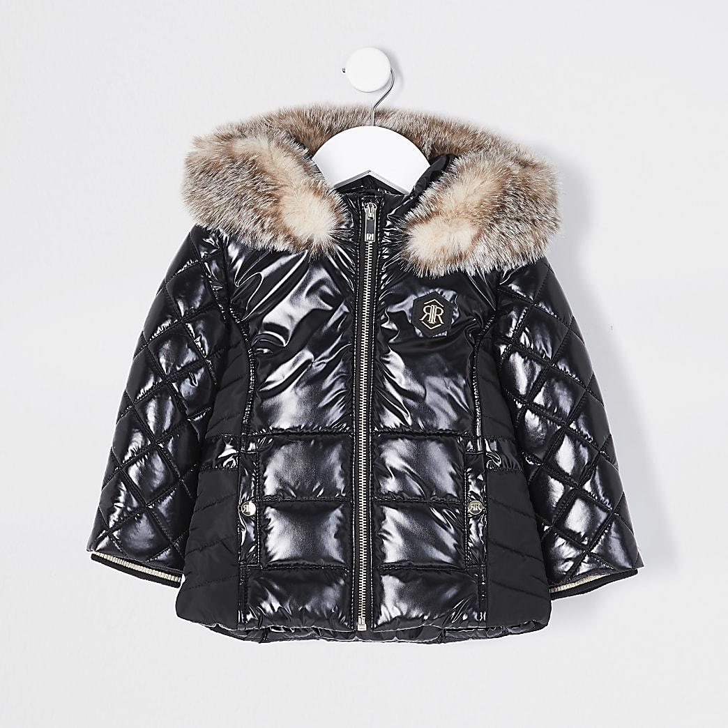 Mini Girls black high shine puffer jacket