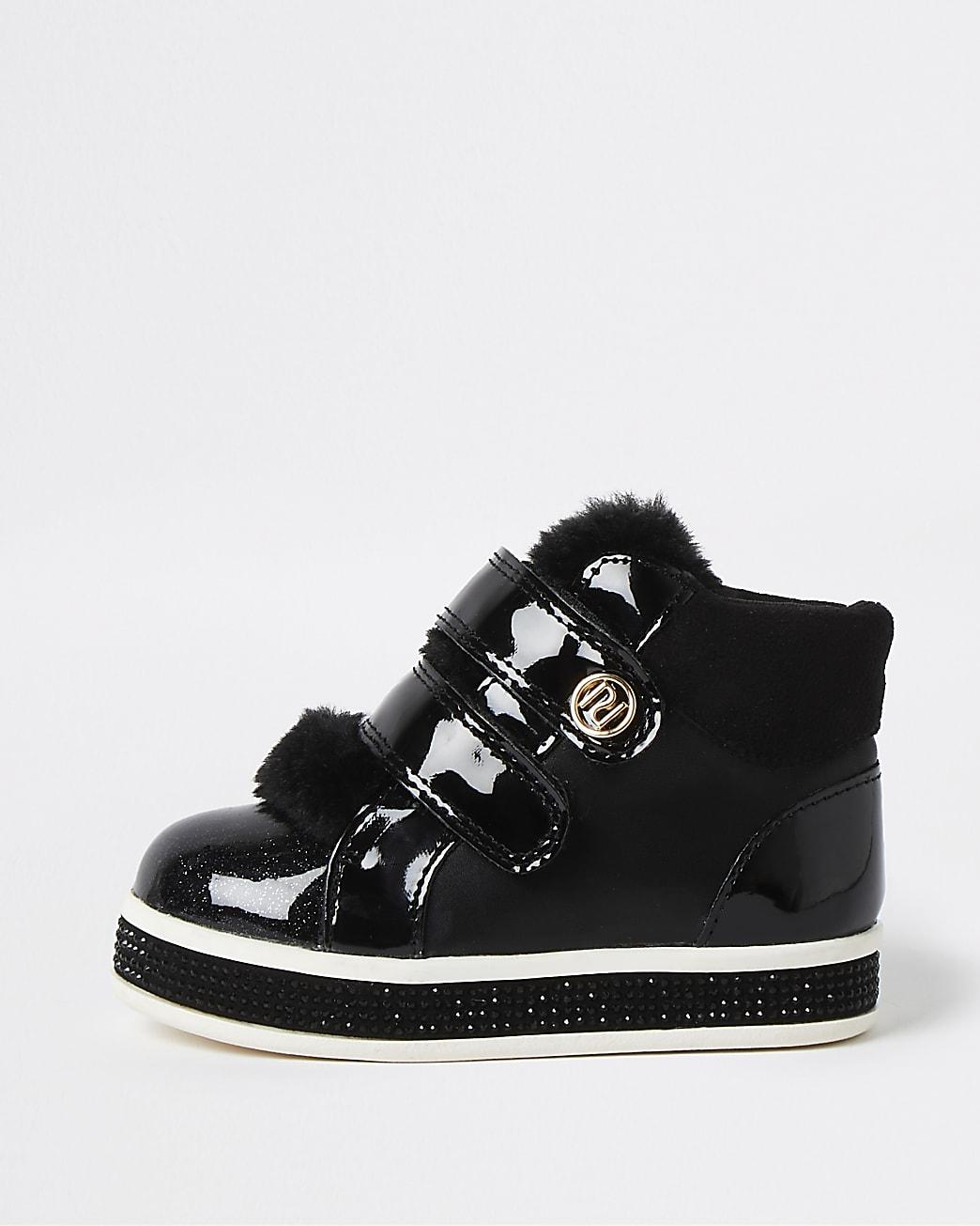 Mini girls black high top faux fur trainers