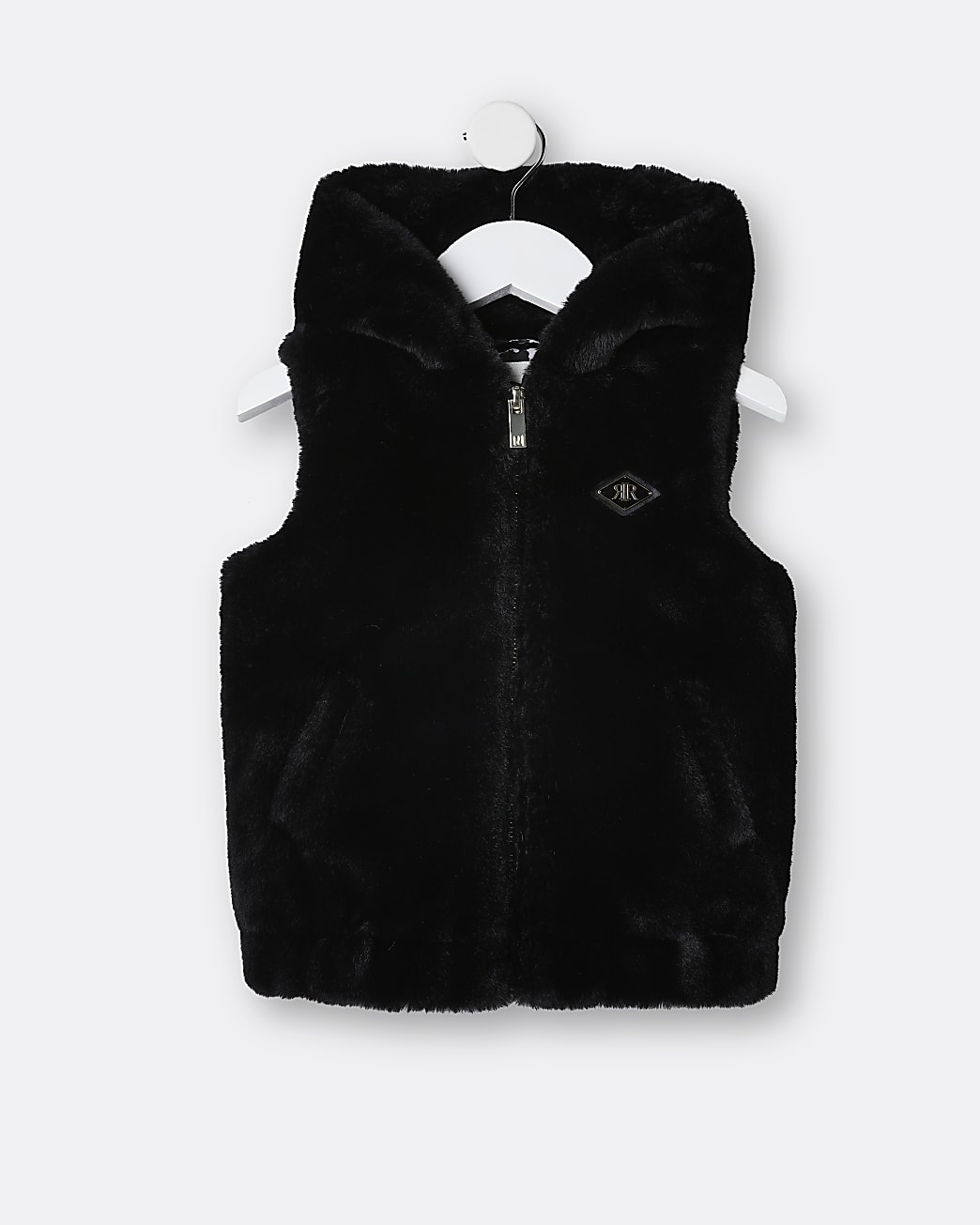 Mini girls black hooded faux fur gilet
