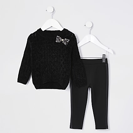 Mini girls black jumper and legging outfit