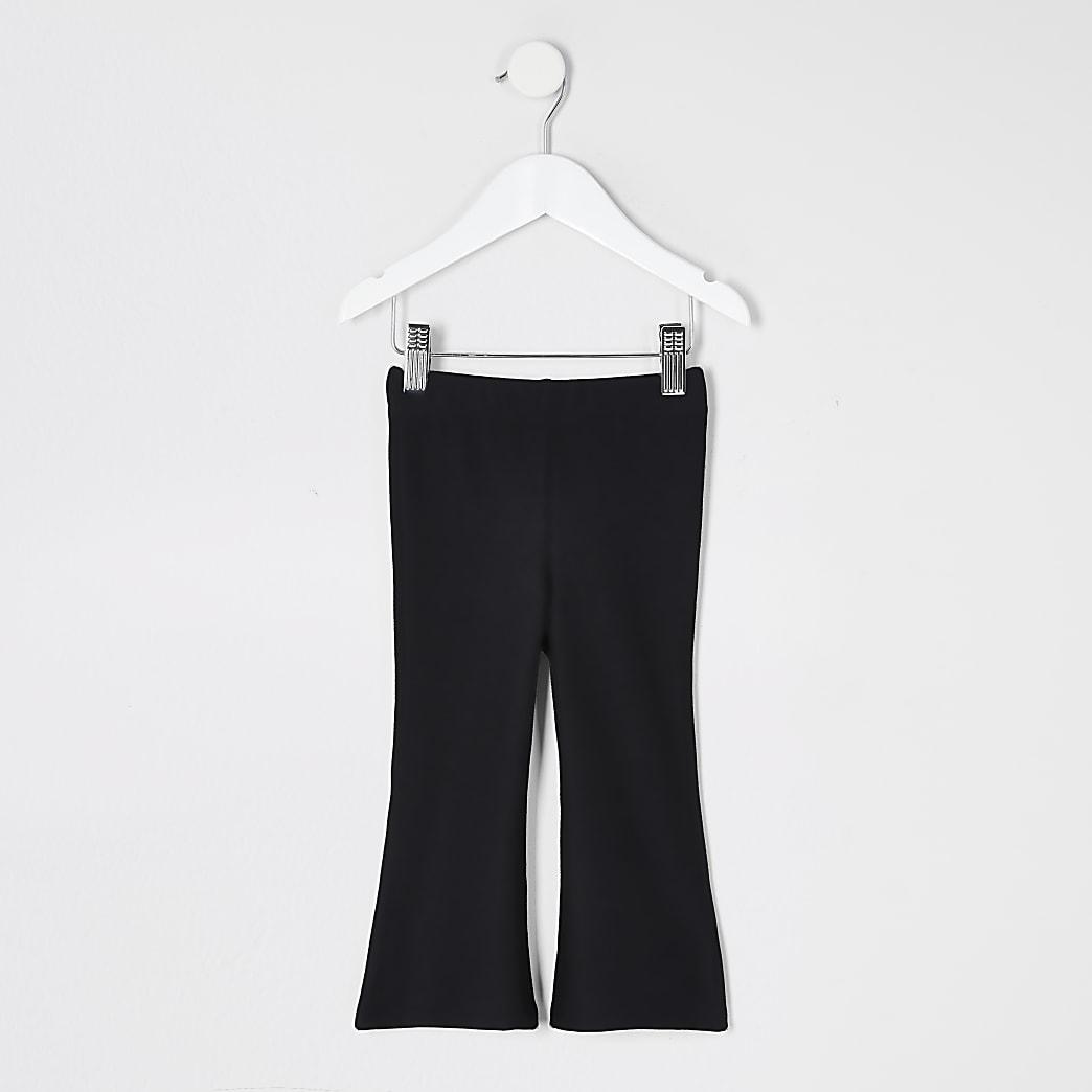 Mini girls black kick flare leggings