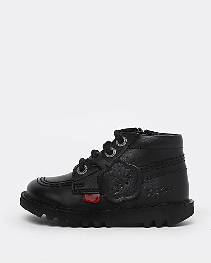 Mini girls black Kickers lace up shoes