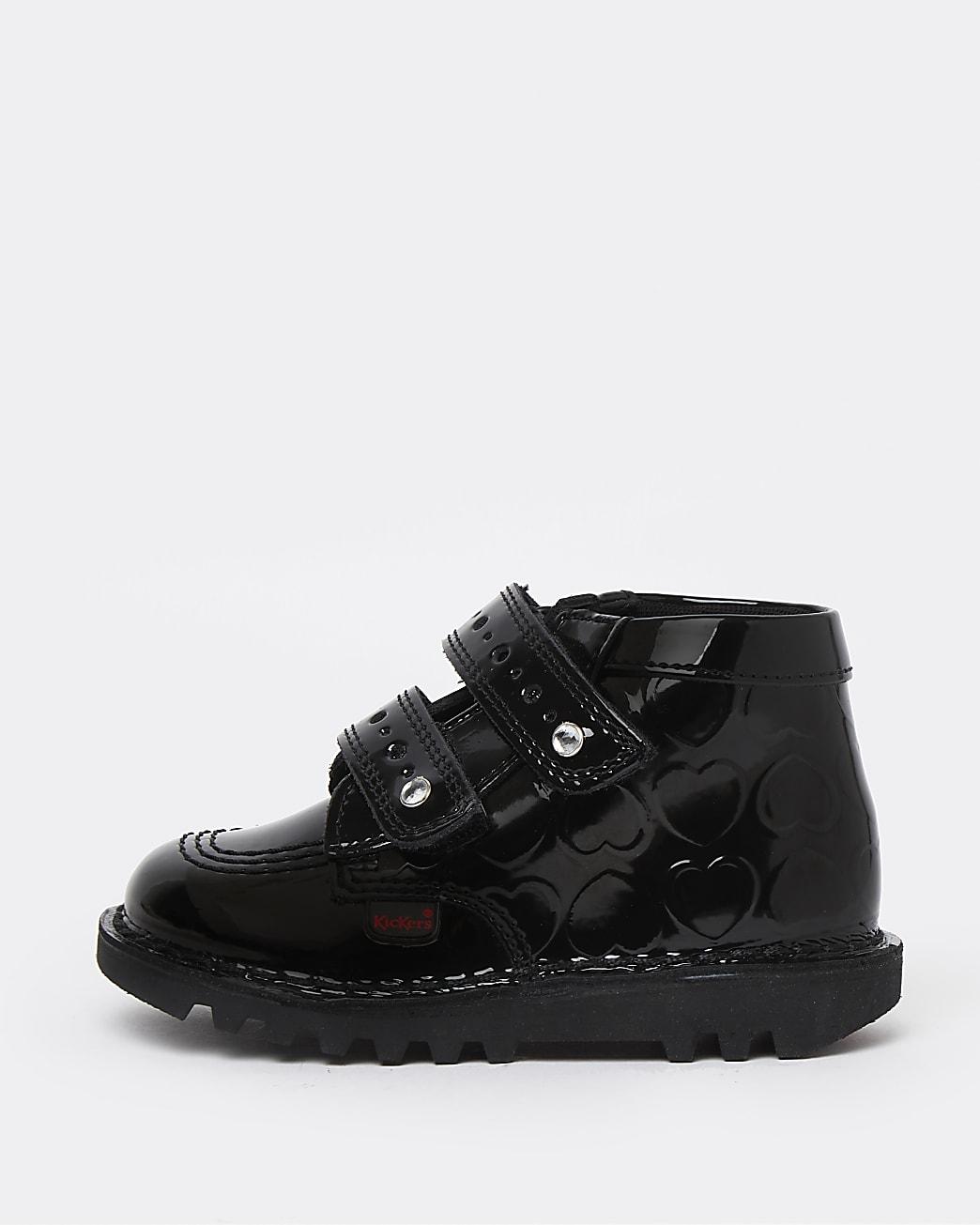 Mini girls black Kickers patent heart shoes