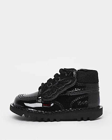 Mini girls black Kickers patent lace up shoes