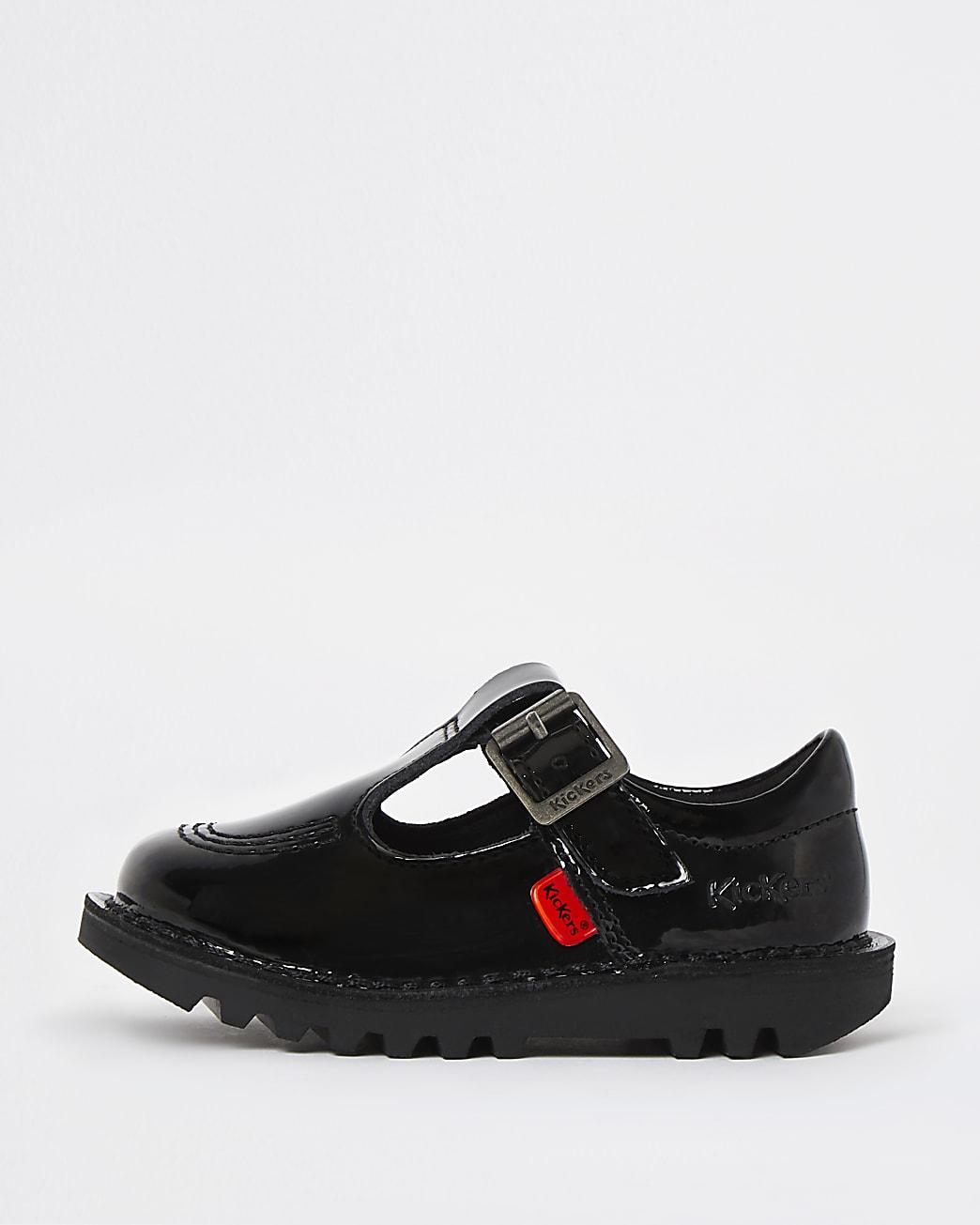Mini girls black Kickers patent shoes