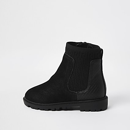 Mini girls black knit clumpy boots