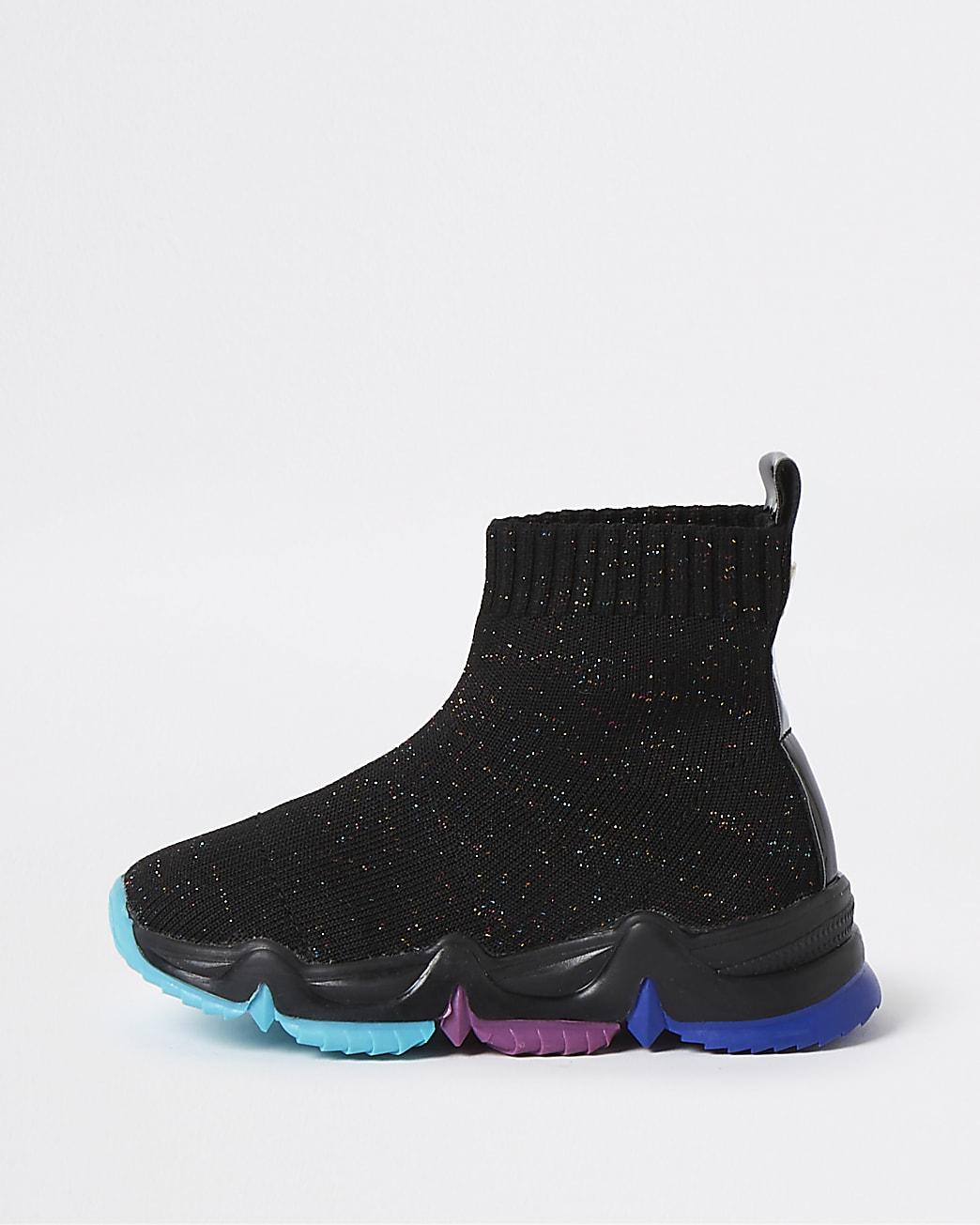 Mini girls black knit high top trainers