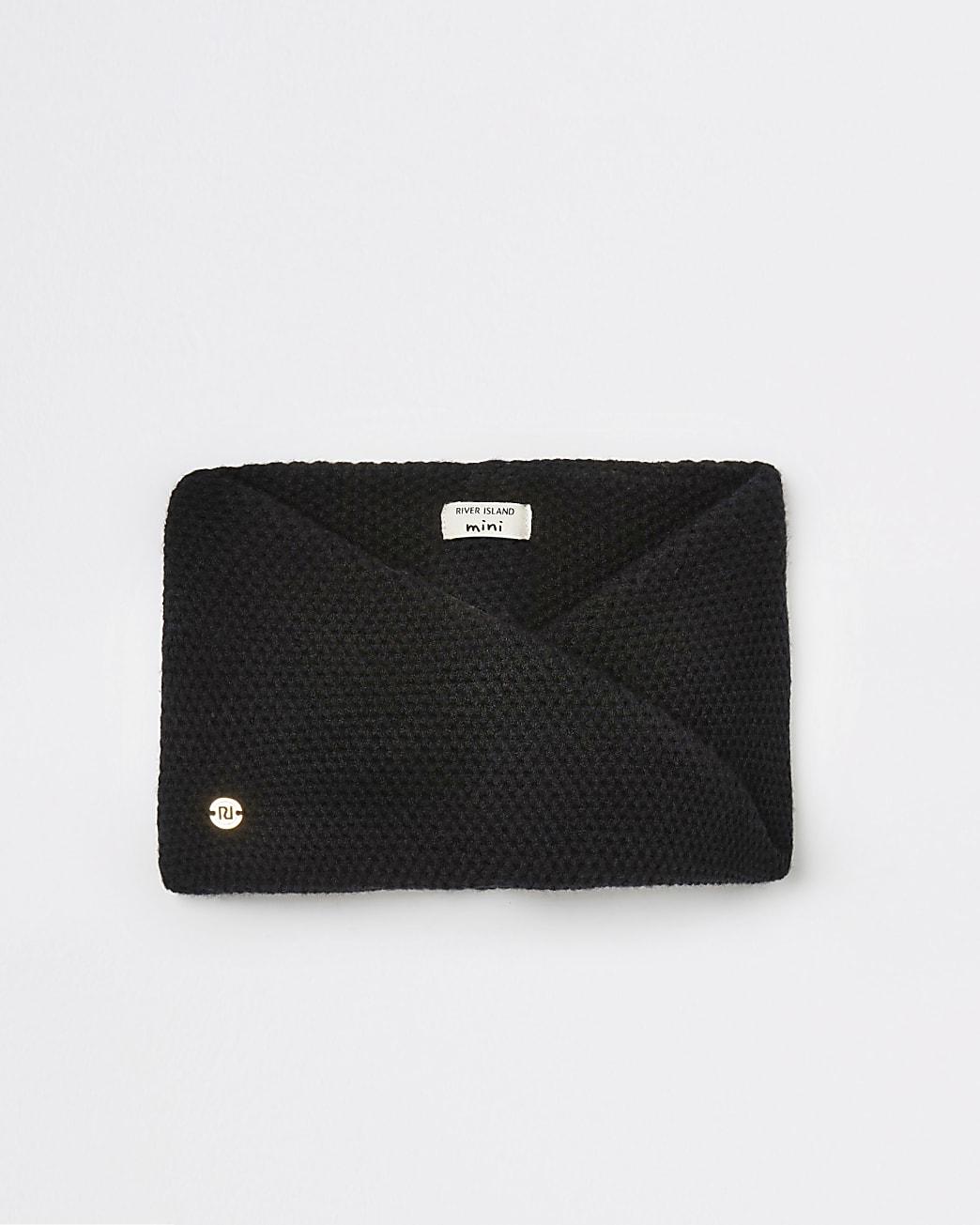 Mini girls black knit twisted snood