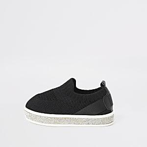Baskets noires en maille à strass mini fille