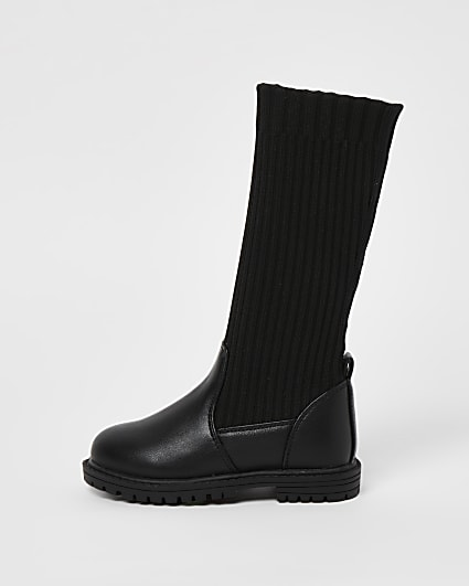 Mini girls black knitted high knee boots