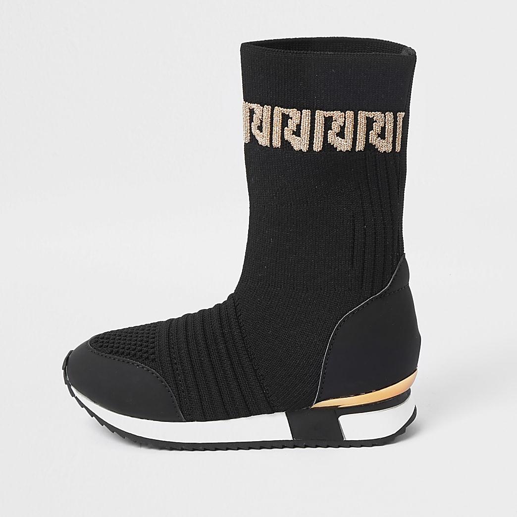 Mini girls black knitted long sock trainer
