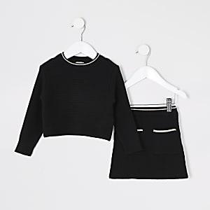 Mini – Schwarzes Strickoutfit mit Rock für Mädchen