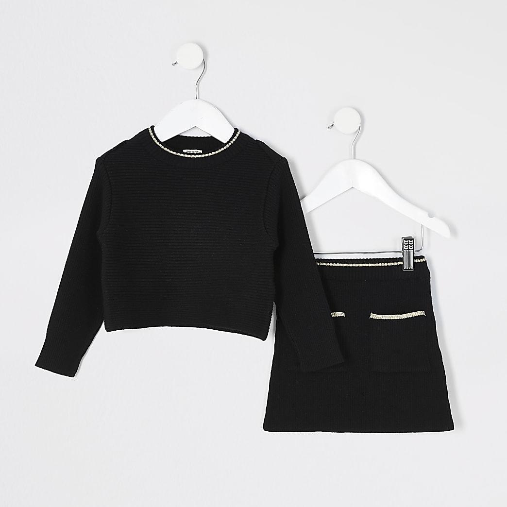Mini - Zwarte outfit met gebreid rokje voor meisjes