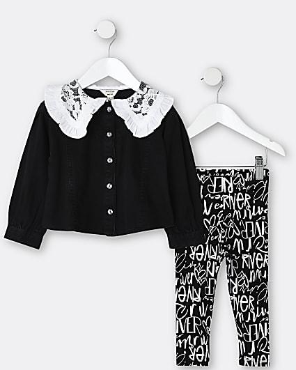 Mini girls black lace collar top and leggings
