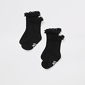 Mini - Set met 2 paar zwarte sokken met kant en ruches voor meisjes