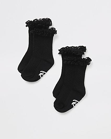 Mini girls black lace frill socks 2 pack