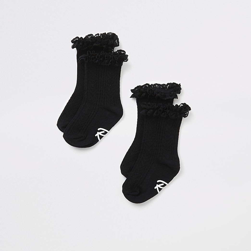 Mini girls black lace frill socks 2 pack