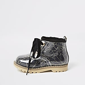 Mini girls black lace hiker boot