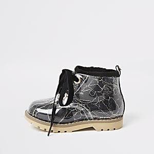 Mini- Zwarte wandellaarzen met vetersluiting voor meisjes