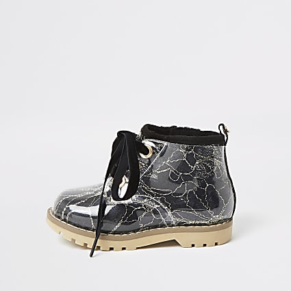 Mini girls black lace hiker boot