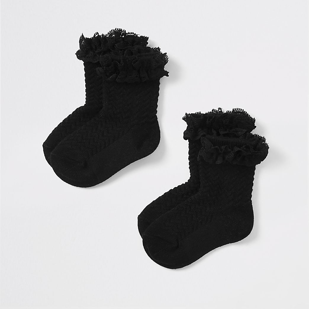 Mini girls black lace socks 2 pack