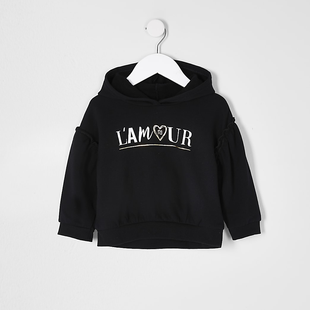 Mini girls black 'Lamour' hoodie
