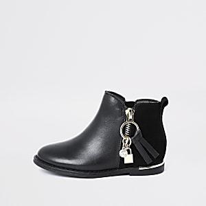 Mini – Schwarze Stiefel mit Reißverschluss und Charm-Anhänger für Mädchen