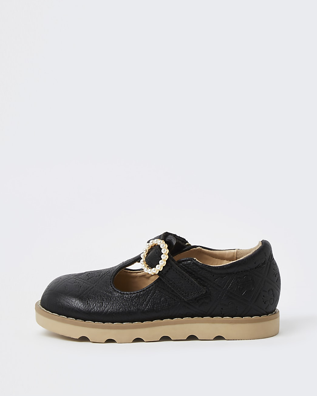 Mini girls black leather embossed shoes