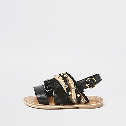 Mini girls black leather gem sandals
