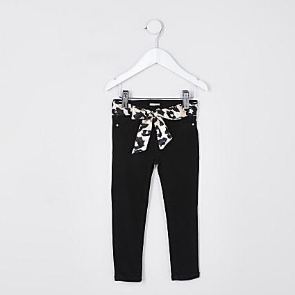Mini girls black leopard belt molly jeans