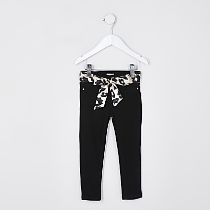 Mini girls black leopard belt molly jeggings