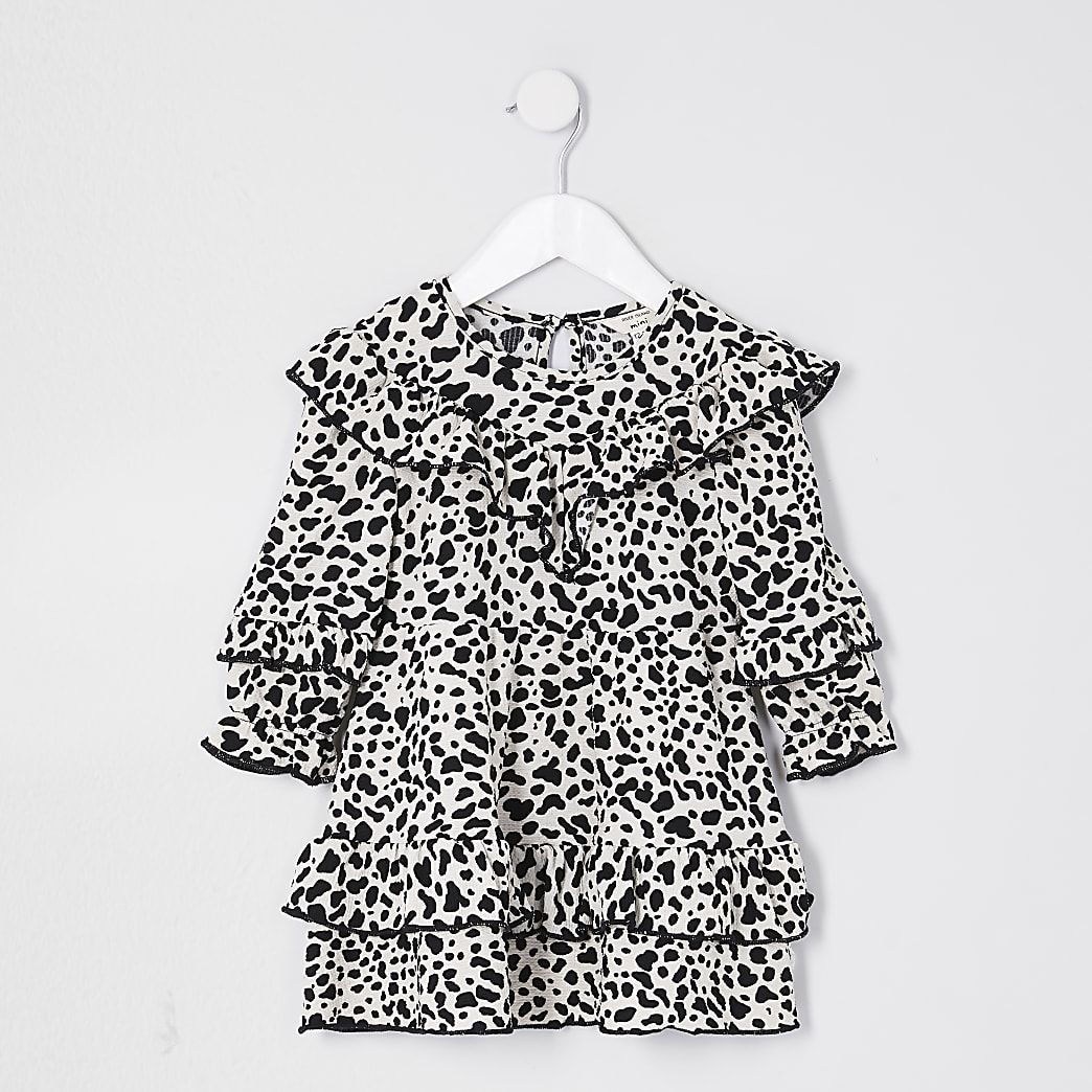 Mini girls black leopard frill dress
