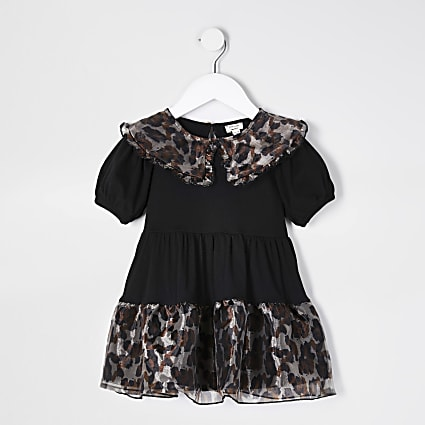 Mini girls black leopard organza trim dress