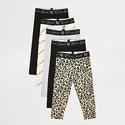Mini girls black leopard pint leggings 5 pack