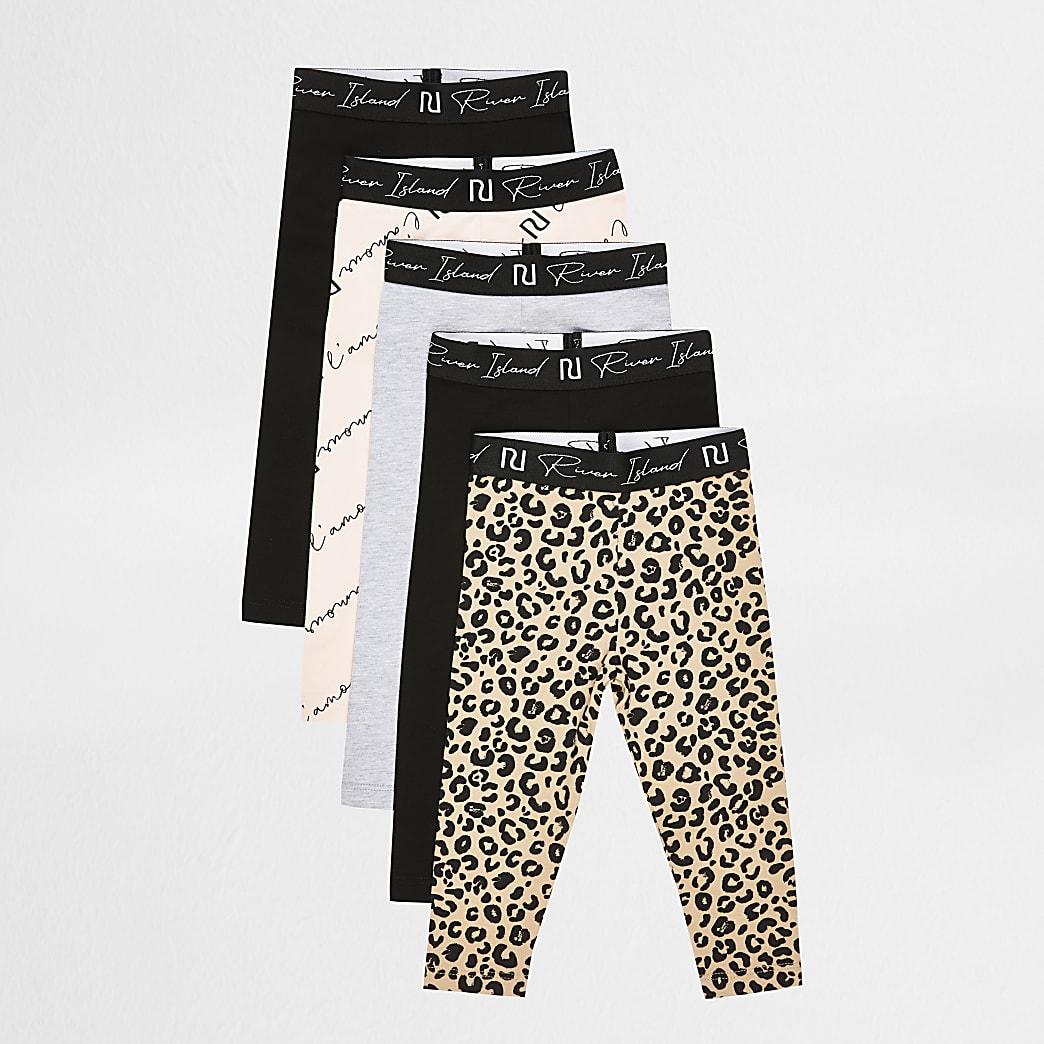 Mini girls black leopard pint leggings 5 pack