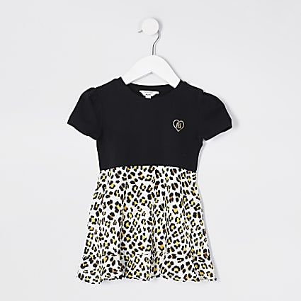 Mini girls black leopard print hybrid dress