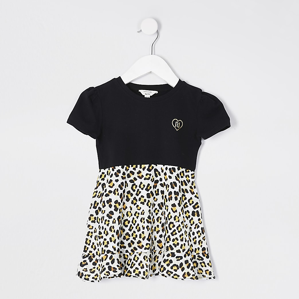 Mini girls black leopard print hybrid dress